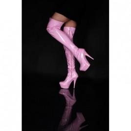 Lack Plateau Overknee Stiefel Pink