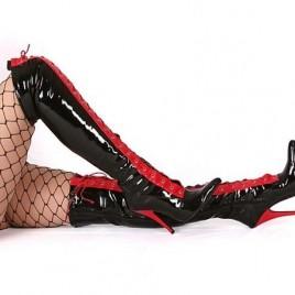 Lack Overknee High Heels rot schwarz Fetisch