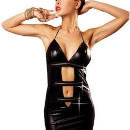 rückenfreies Wetlook Minikleid Open Me, schwarz von Lolitta Lingerie