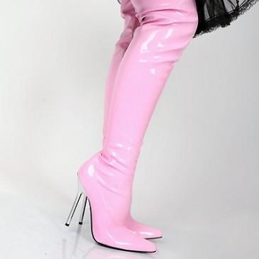 Lack Overknee High Heels pink