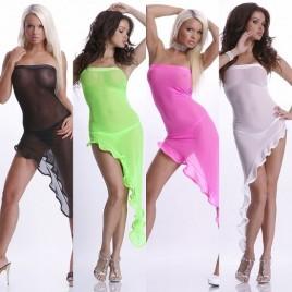 Sexy Nylon Bandeau Latinokleid Asymmetrisch