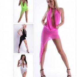 Sexy Nylon Kleid Wasserfallausschnitt in 4 Farben