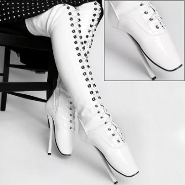 Lack Overknee Ballett High Heels weiß