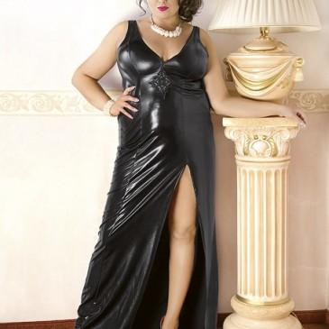 langes schwarzes Wetlook-Kleid C/4005 von Andalea