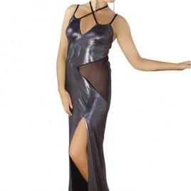 langes silbernes Wetlook-Kleid M/1069 von Andalea