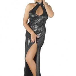langes silbernes Wetlook-Kleid M/1070 von Andalea