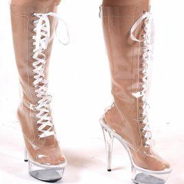 Plateau Knee Boots High Heels glasklar von Kassiopeya