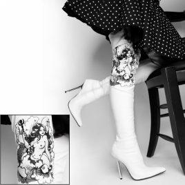 Tattoo Overkneestiefe High Heels Stiefel weiß von Kassiopeya