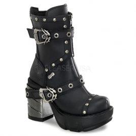 Demonia Sinister-201 – Gothic Industrial Metall High Heels Stiefel Schuhe 36-43
