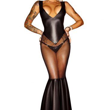 schwarzes langes Kleid F101 von Noir Handmade